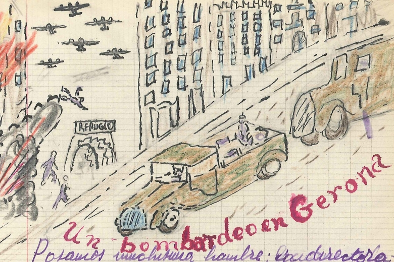 Drawing of planes flying over buildings, which are on fire and several green trucks driving by the buildings.