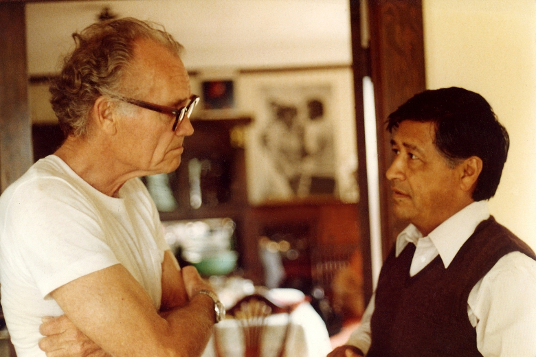 Two men standing, facing each other, speaking in a house.