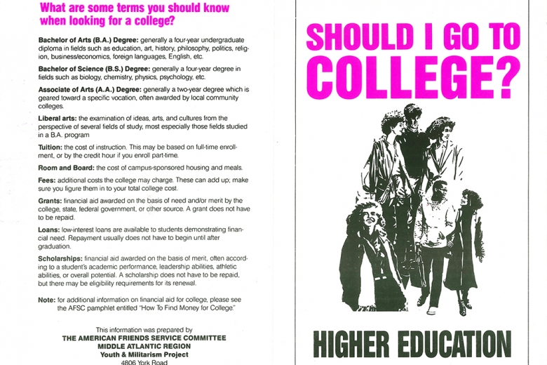 "Pamphlet entitled ""Should I go to college?"""