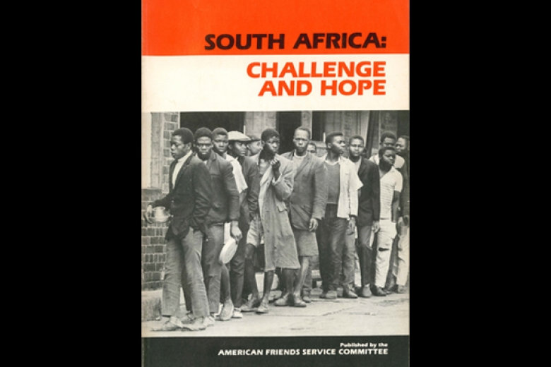 "Cover of a book published by AFSC titled ""South Africa: Challenge and Hope."""