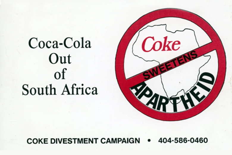 "Graphic for the Coke Divestment Campaign that reads ""Coke sweetens Apartheid."""