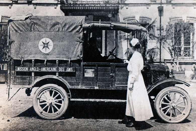 A photo of an ambulance and nurse.