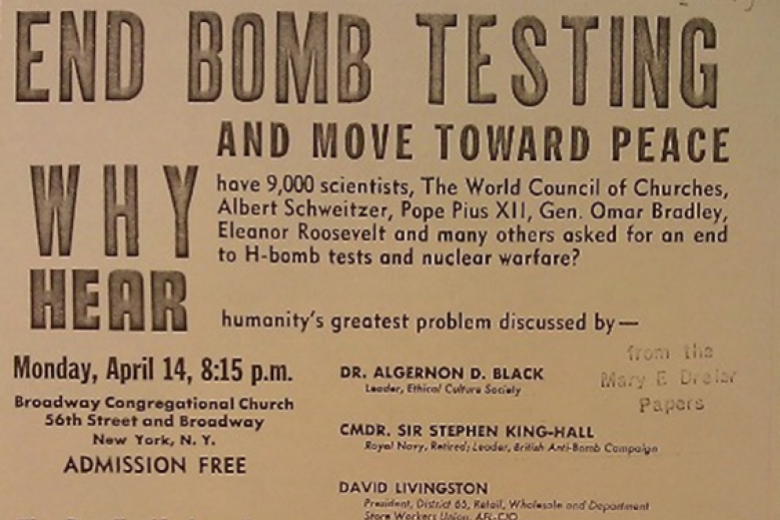 Flyer calling for an end to nuclear bomb testing