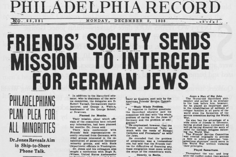"Picture of the front page of a newspaper with the headline ""Friends' society sends mission to intercede for German Jews"""