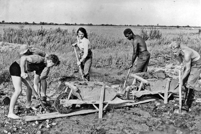 Group of men and women digging in a field with wheelbarrows.