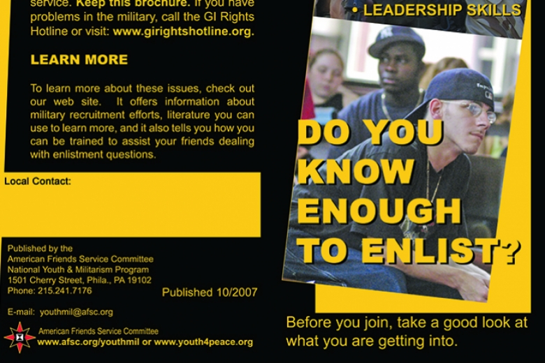 Image from a pamphlet describing what young people should know about military recruiters and how to protect themselves.