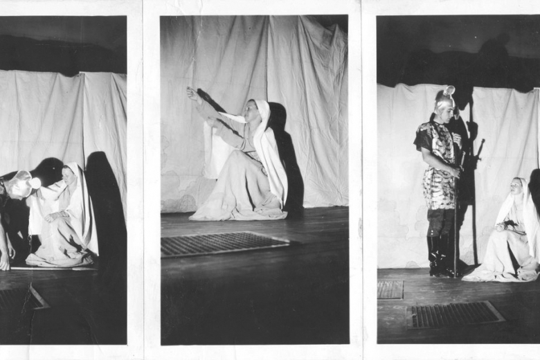 Three pictures of men and women in costume.