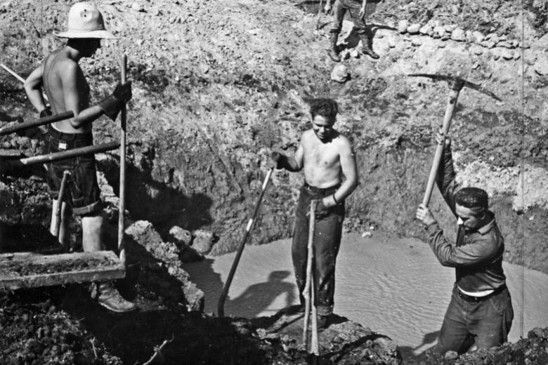 Four young men digging