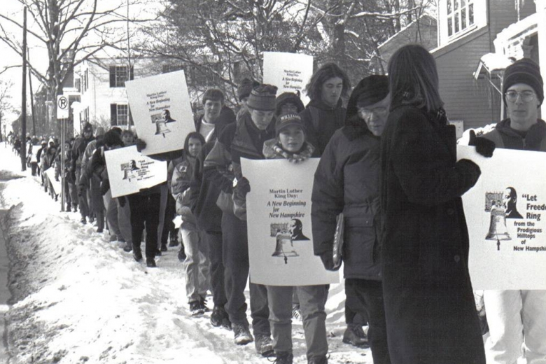 Students march for MLK Day in 1989
