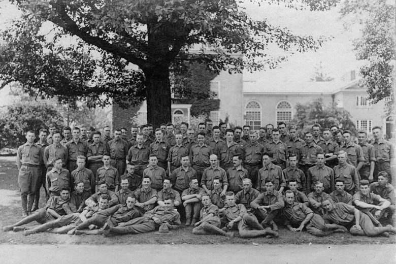 A large group of men in uniform.