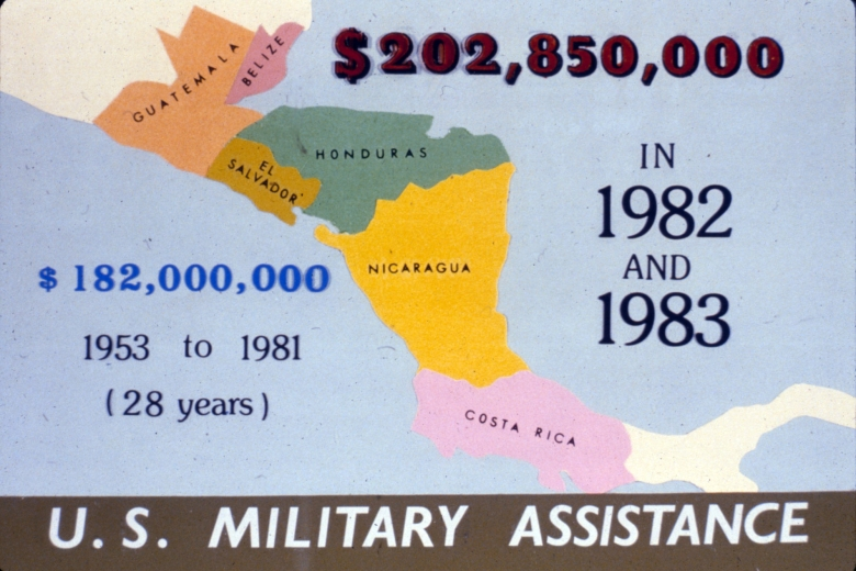 Graphic displays image of Central America and amount of U.S. military assistance that was spent there.