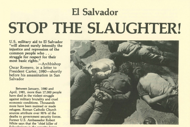 Image of a flyer with a photo of students who were shot in El Salvador.