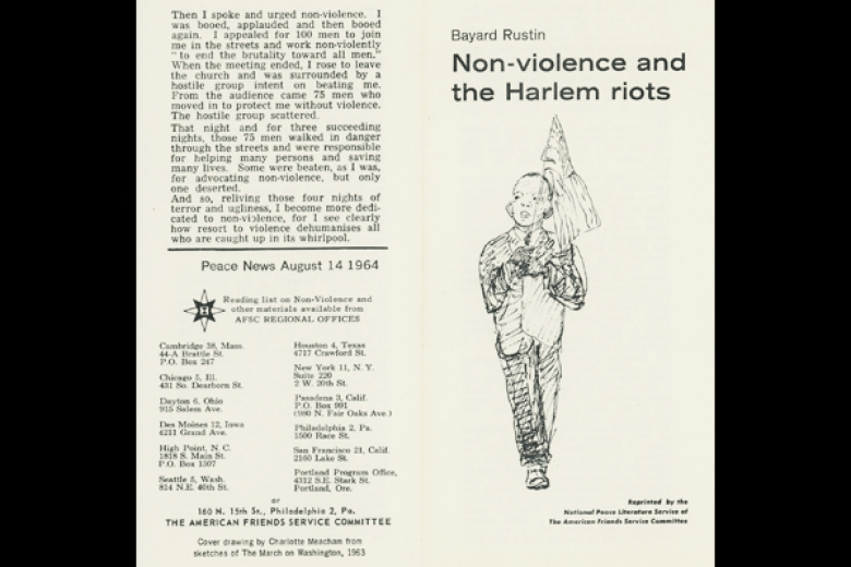 Cover of a pamphlet by Bayard Rustin, published by AFSC.