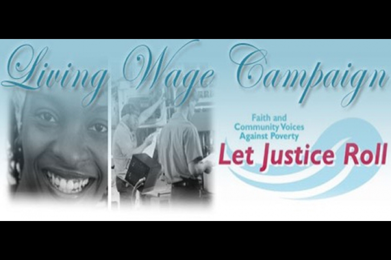 "Flyer for the ""Let Justice Roll Living Wage Campaign."""
