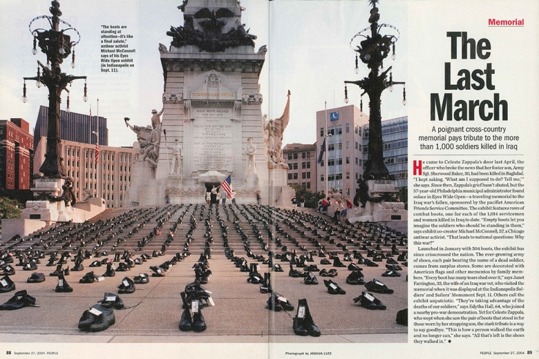 Magazine spread featuring lines of boots in front of a statue.