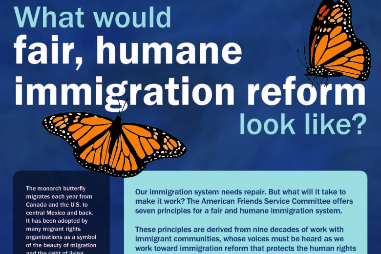 "Graphic with butterflies reads ""What would fair, humane immigration reform look like?"""