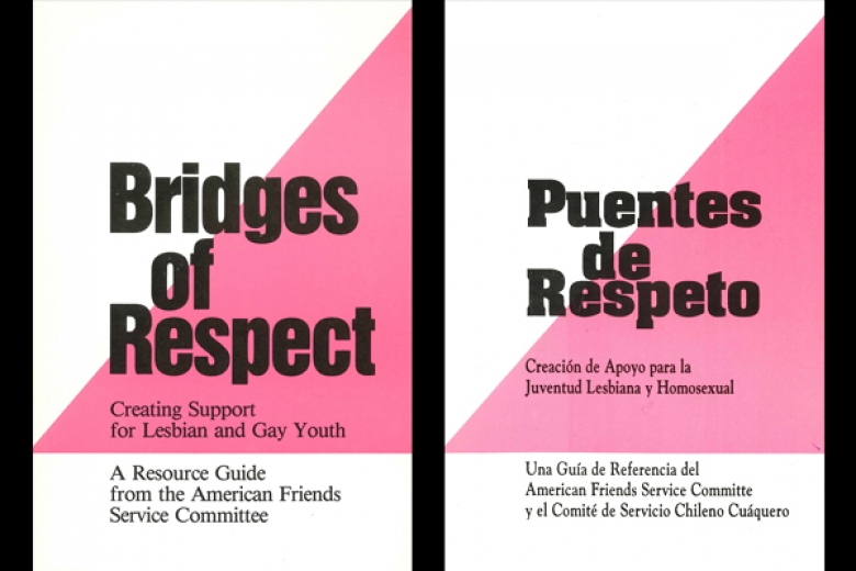 "Image of the covers of a book in English and Spanish called ""Bridges of Respect."""