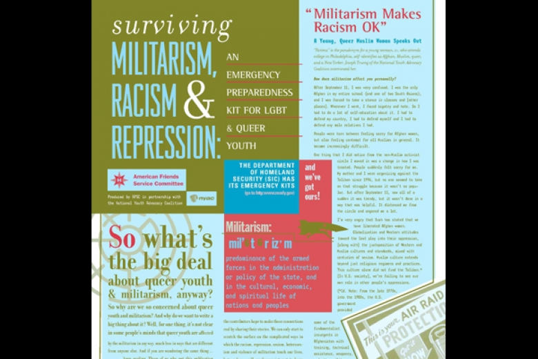 "Pamphlet titled ""Surviving militarism, racism, and repression: an emergency preparedness kit for LGBT and queer youth."""