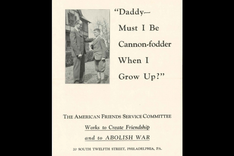 "Cover of a publication by AFSC with a photo of a boy talking to a man and the quotation ""Daddy--Must I be cannon-fodder when I grow up?"""