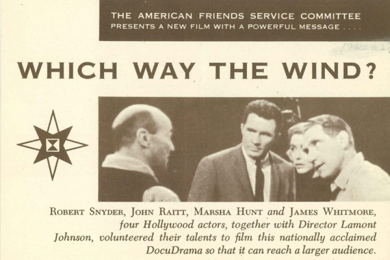 Cover of a film featuring a photograph of a group of people talking with one another.