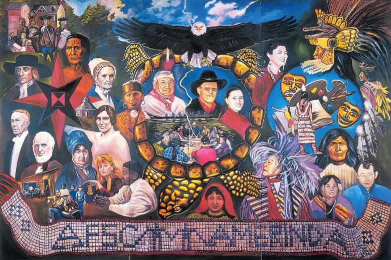 Colorful mural depicting Native American arts and culture.